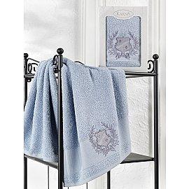 "Полотенце махровое в коробке ""KARNA DAVIS"", голубой, 50*90 см"