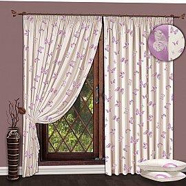 Комплект штор №116 Молочный-Сиреневый