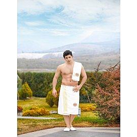 Набор для сауны махровый мужской с тапочками PHILIPPUS, кремовый
