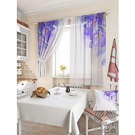 """Фотошторы для кухни """"Киле"""", белый, фиолетовый, 180 см"""
