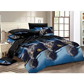 КПБ мако-сатин печатный Meow (2 спальный), синий