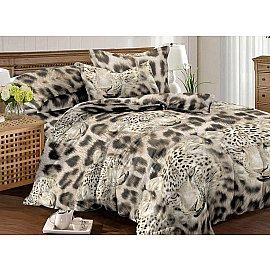 КПБ мако-сатин печатный Leo (2 спальный), бежевый, коричневый, черный