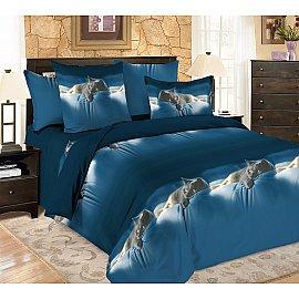 КПБ мако-сатин печатный Meow (Евро), синий