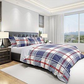 КПБ бязь eco cotton печатный Grid (2 спальный), синий