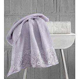 """Комплект махровых полотенец с гипюром """"KARNA ELINDA"""", кремовый, светло-лаванда, 50*90 см - 2 шт"""