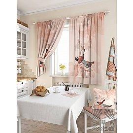 """Комплект штор """"Допсис"""", бежево-розовый, 180 см"""