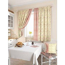 """Комплект штор """"Ямбуто"""", желтый, розовый, 180 см"""