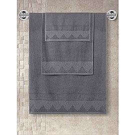 """Полотенце махровое с жаккардом """"KARNA SIESTA"""", темно-серый, 70*140 см"""