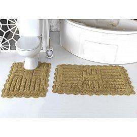 """Набор ковриков для ванной кружевной """"MODALIN ANCOR"""" (60*100; 50*70), темно-бежевый"""