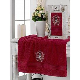 Полотенце махровое в коробке Merzuka Boss, бордовый, 70*130 см