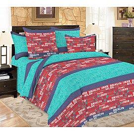 КПБ мако-сатин печатный Voyage (1.5 спальный), бирюзовый, фиолетовый, красный