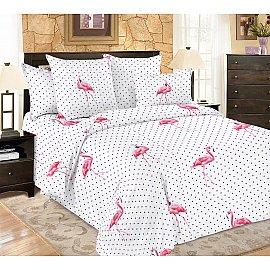 КПБ мако-сатин печатный Flamingo (2 спальный), белый, розовый