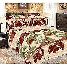 КПБ мако-сатин печатный Military (2 спальный), коричневый, хаки