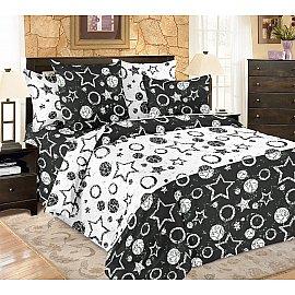 КПБ мако-сатин печатный Stellar (1.5 спальный), черный, белый