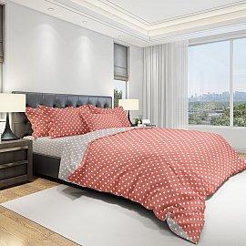 КПБ бязь eco cotton Dots (2 спальный), коралловый, серый