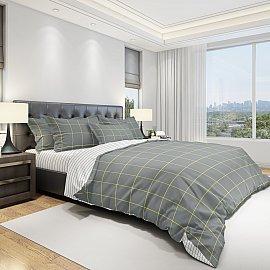 КПБ бязь eco cotton Grillage (2 спальный), серый, белый