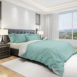 КПБ бязь eco cotton Dots (2 спальный), бирюзовый, белый