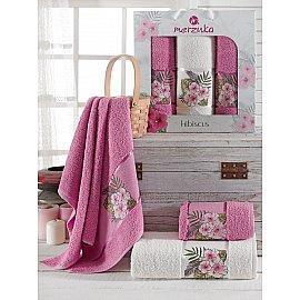 Комплект махровых полотенец Merzuka Hibiscus (50*80*2; 70*130), светло-лиловый