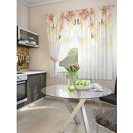 """Комплект штор """"Фонтен"""", белый, желтый, 180 см"""