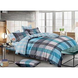КПБ сатин пигмент Gold Mike (1.5 спальный), голубой, бирюзовый, серый