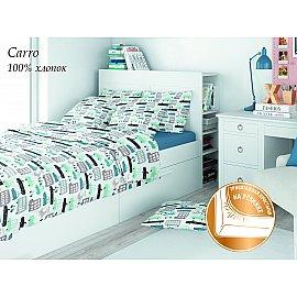 КПБ поплин детский eco cotton combo Carro с трикотажной простыней (1.5 спальный), бирюзовый