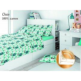 КПБ поплин детский eco cotton combo Osos с трикотажной простыней (1.5 спальный), салатовый