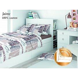 КПБ поплин детский eco cotton combo Jaime с трикотажной простыней (1.5 спальный), коричневый, бежевый