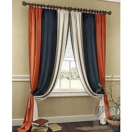 """Комплект штор """"Кичнер"""", оранжевый, черный, 260 см"""