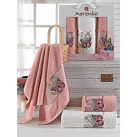 Комплект махровых полотенец Merzuka Butterfly (50*80*2; 70*130), брусничный