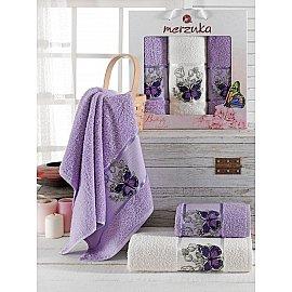 Комплект махровых полотенец Merzuka Butterfly (50*80*2; 70*130), лиловый