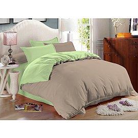 КПБ сатин однотонный Bounty (2 спальный), бежевый, зеленый