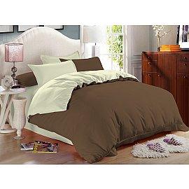 КПБ сатин однотонный Caribou (2 спальный), коричневый, светло-зеленый