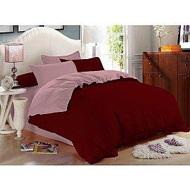 КПБ сатин однотонный Garnet (2 спальный), бордовый, розовый