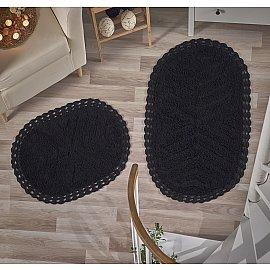 """Набор ковриков для ванной кружевной """"MODALIN CROSS"""" (60*100; 50*70), черный"""