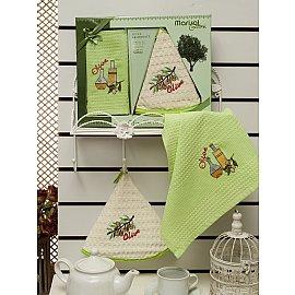 Комплект вафельных салфеток с вышивкой Meteor Marisol Olive в коробке (50*70; 50*50)