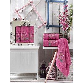 Комплект махровых полотенец MERZUKA LALE (50*80*2; 70*130), темно-розовый