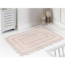 """Махровое кружевное полотенце для ног """"MODALIN EVORA"""", пудра, 60*100 см"""