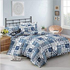 КПБ мако-сатин печатный City (2 спальный), синий, голубой