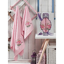 Комплект махровых полотенец MERZUKA VIOLET (50*80; 70*130), светло-розовый