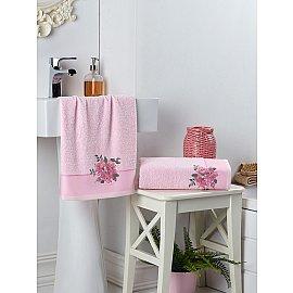 """Комплект махровых полотенец с вышивкой """"KARNA FLORYA"""" (50*90; 70*140), розовый"""