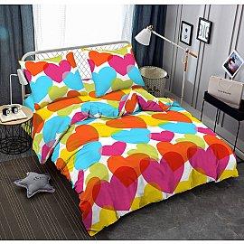 КПБ мако-сатин печатный Love (2 спальный), многоцветный