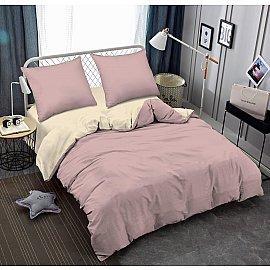 КПБ мако-сатин однотонный Bella, розовая пудра, бежевый (1.5 спальный)