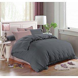 КПБ мако-сатин однотонный Mia (2 спальный), серый, розовый