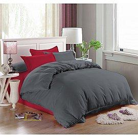 КПБ мако-сатин однотонный Naomi (2 спальный), серый, красный