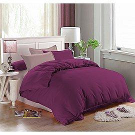 КПБ мако-сатин однотонный Leila (Евро), фиолетовый, розовый