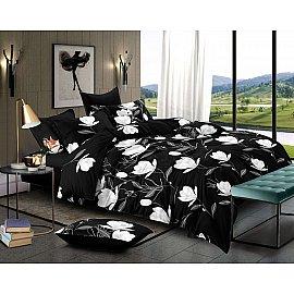 КПБ мако-сатин House, черный, белый (1.5 спальный)