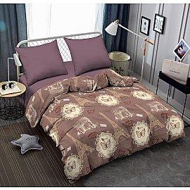 КПБ поплин combo Pasodoble (2 спальный), кофейный, фиолетовый