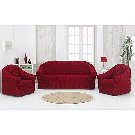 """Набор чехлов для дивана и кресел """"KARNA"""" 3+1+1 , без юбки, бордовый"""