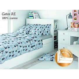 КПБ поплин детский Eco cotton combo Gatos RE с трикотажной простыней (1.5 спальный)