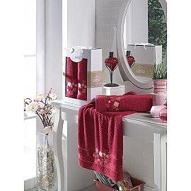 Комплект махровых полотенец с вышивкой TWO DOLPHINS CLASS COTTON (50*90; 70*140), бордовый